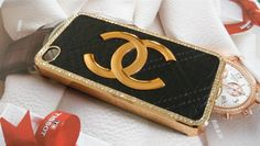Black Leather case with Metal CC Chanel for iPhone by AlexET