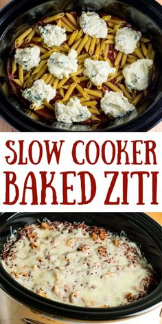 slow cooker baked ziti made entirely in the crock pot! You don't even cook the noodles first! Everyone goes crazy for this recipe for dinner easy crockpot Easy Crock Pot Baked Ziti Recipe - Build Your Bite Crock Pot Baked Ziti Recipe, Slow Cooker Baked Ziti, Crockpot Dishes, Crock Pot Slow Cooker, Crock Pot Pasta, Crock Pot Lasagna, Tortellini Crockpot, Baked Ziti Recipes, Crockpot Recipe With Ground Beef