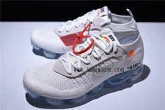 The shoe features an all-white upper with tan suede eyelets. The design aesthetic remains largely unchanged from the original release except for the tonal contrast provided by the suede adorning the lacing system. On this iteration, the Off-White x Air VaporMax ditches the black Flyknit upper seen on prior styles for a white-based look. Accents include cream suede overlays on the eyelets, black text, and orange hits on the Swoosh and tongue branding. Following is Off-White branding on the… Off White Shoes, Nike Air Vapormax, Branding, Orange, Sneakers, Overlays, Shopping, Black, Contrast