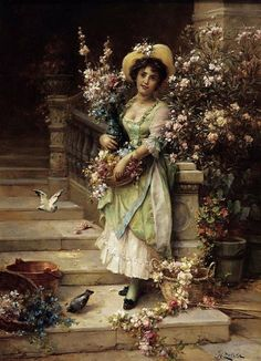 The Flower Seller by Hans Zatzka Handmade oil painting reproduction on canvas for sale,We can offer Framed art,Wall Art,Gallery Wrap and Stretched Canvas,Choose from multiple sizes and frames at discount price. Victorian Paintings, Victorian Art, Victorian Women, Classic Paintings, Beautiful Paintings, Vintage Images, Vintage Art, Vintage Ladies, Art Pictures