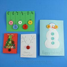 25+ Handmade Christmas Cards Button Christmas Cards, Button Cards, Homemade Christmas Cards, Christmas Cards To Make, Christmas Crafts For Kids, Homemade Cards, Handmade Christmas, Holiday Crafts, Christmas Holidays