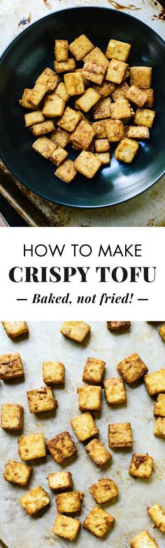 Learn how to make super crispy baked tofu (without a ton of oil). You can toss this crispy tofu into any recipe. Tofu Recipes, Whole Food Recipes, Vegetarian Recipes, Cooking Recipes, Healthy Recipes, Vegetarian Cooking, Meal Recipes, Dinner Recipes, Cooking Tofu