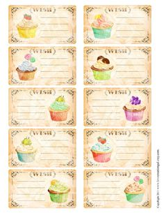 Vintage Birthday Wish Tea Party Cakes Cupcakes by lovecreationgal, $3.99