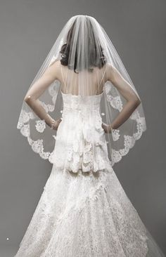 What type of veil to use for ballgown princess dress?? (lots of pics) :  wedding ballgown casablanca casablanca 2098 ceremony june 2013 princess dress veil One Layer Lace