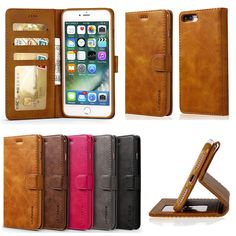 Luxury Pu Leather Flip Wallet Card Slot Case Stand Cover For Various Phones
