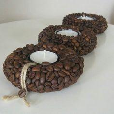 Coffee Bean Decor, Coffee Bean Art, Coffee Crafts, Coffee Beans, Coffee Candle, Jute Crafts, Brown Art, Thrifty Decor, Homemade Crafts