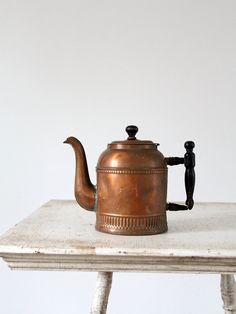 Antique Copper Pot / Tea Pot / Coffee Pot by 86home on Etsy,