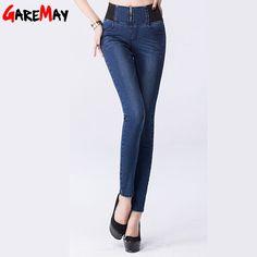 Aliexpress.com: Compre Mulheres jeans 2016 de cintura alta cintura elástica estiramento plus size fino jeans skinny calças para mulheres de cintura alta de confiança jeans para mulheres grávidas fornecedores em Ruisun Group CO., Ltd.
