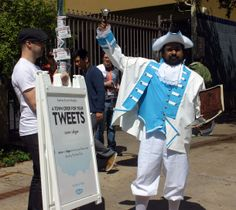 This creative, on-message promotion for Skype aims to re-introduce a little humanity among all the technology at the fest. Dressed in Skype-branded period attire and brandishing a bell, this gentleman reads aloud tweets with the hashtags #SXSW or #Skype from ye olde iPad to crowds gathered outside the convention center.