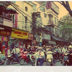 Fighting traffic in Hanoi, Vietnam