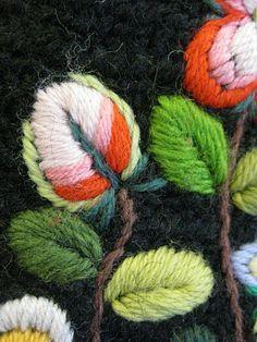 bordado lana, hojas