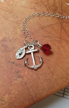 Personalized Anchor necklace in STERLING SILVER. by RoyalGoldGifts, $32.00
