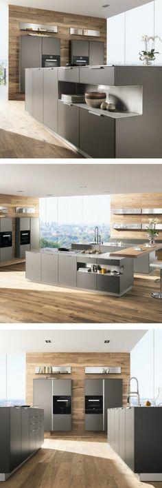 Küche, grau, graue Küche, Küchenfarbe, Trend, Idee, modern, Kochinsel, Kücheninsel, Holzküche, Holzfronten, Wandverkleidung, Design Küche, offene Küche, Wohnküche; Foto: Intuo