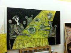 """""""Cena en mesa amarilla"""" Oil on Canvas 195×130 cm. Autor: Bernardo Guerra 2011"""