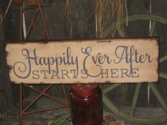 "Primitive Wood Hand Painted Love Sign "" Happily Ever After Starts Here "" Wedding…"