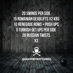 ⚫ Be sure to hit this quick kettlebell workout before you hit the beach! For a greater challenge, perform 10-15 two-handed swings between each move:  20 Swings per side 15 Romanian deadlifts x2 KBs 10 Renegade rows + push ups 5 Turkish get ups per side 20 https://www.kettlebellmaniac.com/kettlebell-exercises/