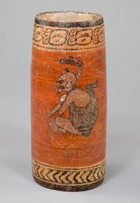 Mayan Late Classic Polychrome Cylinder Vessel. Belize or Guatemala.