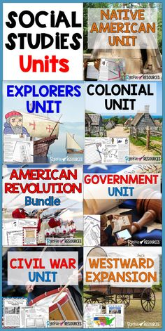 Are you looking for American History units filled with informational text and activities? These come as a bundles or separate units for Native Americans, Explorers, Colonial Times, American Revolution, Government, Civil War, and Westward Expansion. No textbook needed! Click to learn more about SOCIAL STUDIES units for United States History!