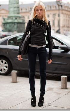 Nice leather jacket! Black & blonde, legs, shoes. Perfect. skinny. winter/fall
