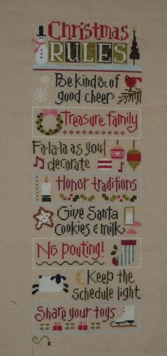 Christmas Rules Cross Stitch. My best friend would love this!