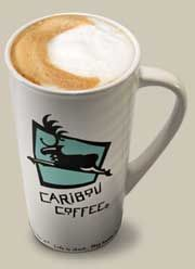 Caribou Coffee Latte.  Latte is a delicious blend of sophisticated espresso and creamy steamed milk. This combination is a coffee house classic.