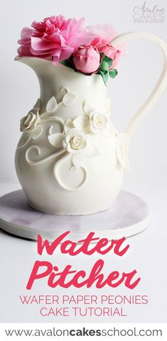 Learn how to make this porcelain water pitcher CAKE anddd wafer paper PEONIES cake by Shawna McGreevy! HD step by step video tutorial! Only on avaloncakesschool.com #pitchercake #cakeart #cakedecorating #waferpaper #peonies