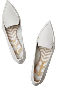 Nicholas Kirkwood | Textured-leather point-toe flats | NET-A-PORTER.COM