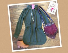 Fall 🍂 in LOVE with our new arrivals  Tunic $45 Toms Lelia Bootie $139 Horn Necklace $29 Hammitt Fringe Bag $385  ☎️210-824-9988