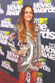 leighton meester style. metallic dress. silver dress. Andrea Pienaar