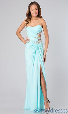 Long Strapless Dress with Side Cut Outs by Faviana 7304 at SimplyDresses.com