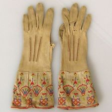 Rare Art Deco Egyptian Revival Ladies Embroidered Silk Knit Kayser Hand Gloves