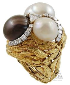 David Webb Diamond and Cultured Pearl Ring 2