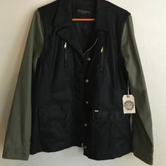 OBEY RARE Women's Obey jacket super cute!!!! Green sleeves black leather gold hardware !!!   brand new Obey Jackets & Coats