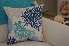 Beach Decor Sea Fan Throw Pillow Coastal by ByTheSeashoreDecor Coastal Decor, Boho Decor, Custom Pillows, Decorative Pillows, Beach Color, Mediterranean Decor, Beach Wall Art, Beach House Decor, Cottage Chic