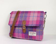 Harris Tweed Satchel Tasche Pink & Lila von PaulineLothian auf Etsy