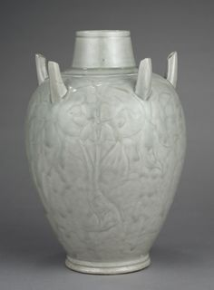 Vase with Peonies and Five Spouts   China, Zhejiang province, Hangzhou, Southern Song dynasty (1127-1279) green-glazed porcelaneous stoneware with incised decoration, Yue ware, Diameter: w. 16.2 cm; Overall: h. 26.4 cm