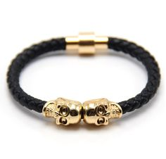 FREE OFFER Dual Skull Leather Bracelet from BELFORT Jewellery. Free until 12th March 2016.