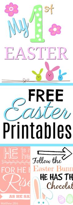 Get ready for Easter with these decorative free Easter Printables, including one for Baby's First Easter! #Easter #SpringFun #FirstEaster #EasterBunny