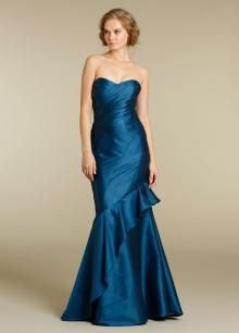Strapless Sweetheart Blue Bridesmaid Gown with Ruffled Skirt