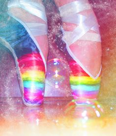 Rainbow Ballet Slippers - I miss dancing so much. I can't wait for Allie to be able to start dance lessons, I've already taught her a plie, shenae and pique turns! Now she'll have a head start when she's old enough!