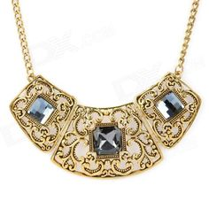 Color: Golden; Quantity: 1 Piece; Chain Material: Alloy + CZ diamond; Pendant Material: Alloy + CZ diamond; Gender: Women; Suitable for: Adults; Chain Length: 40 cm; Packing List: 1 x Necklace; http://j.mp/1oPc9X2