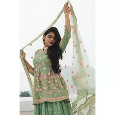 Pista green georgette embroidered work party wear lehenga choli