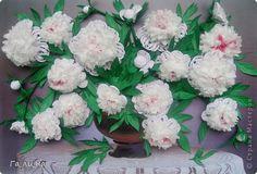 Картина панно рисунок Квиллинг Мой букет белых пионов Бумага Бумажные полосы фото 1