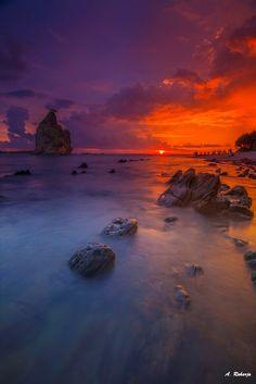 Horizon 22 - Sunset at Batu Layar, Sawarna Beach, Banten, Indonesia.