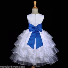 NEW WHITE PAGEANT ROYAL BLUE WEDDING TIERED ORGANZA FLOWER GIRL DRESS 2 4 6 8 10