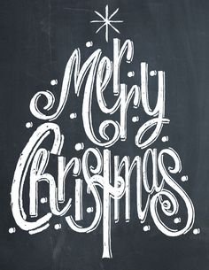 Merry Christmas Tree Chalk Print - Free Print on { lilluna.com }