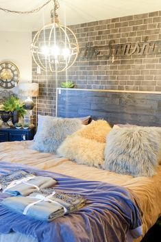 Home decor inspiration - Farmhouse Style - Home Decor - Bedroom Design Ideas - Master Bedroom Ideas - Teen Bedroom - I Love the way they used an adhesive wall covering to mimic a brick wall! #homedesignstyles #homedecorationstyles