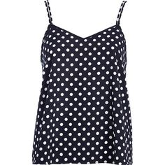 River Island Navy polka dot V neck cami top ($12) ❤ liked on Polyvore featuring tops, shirts, tank tops, tanks, blusas, sale, navy blue tank top, navy blue camisole, navy blue shirt and v neck tank top
