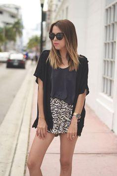 #FashionBySIMAN & Our Favorite Style: Combina un short estampado con complementos sólidos como un top y un cardigan.