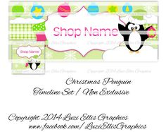 Christmas Penguins Facebook Timeline  Banner by LuziEllisGraphics Printed Ribbon, Facebook Timeline, Fb Covers, Collage Sheet, Penguins, Circles, Banners, Avatar, Custom Design